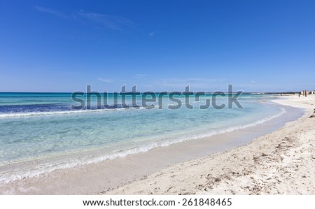Beach of des Trenc at the island of Majorca in the Mediterranean Sea. Majorca is the largest island in the Balearic Islands archipelago in Spain. - stock photo
