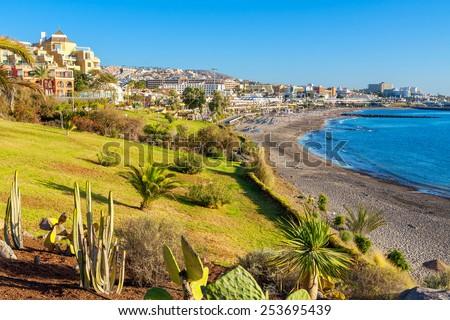 Beach of Fanabe in Costa Adeje town. Tenerife, Canary Islands, Spain - stock photo