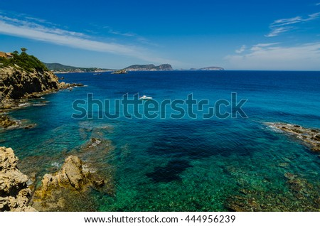 beach of Ibiza, Spain, Balearic. An landscape of the Ibiza island, color at summer.