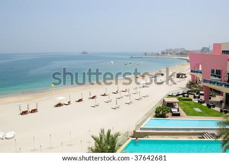 Beach of luxury hotel, Dubai, United Arab Emirates - stock photo