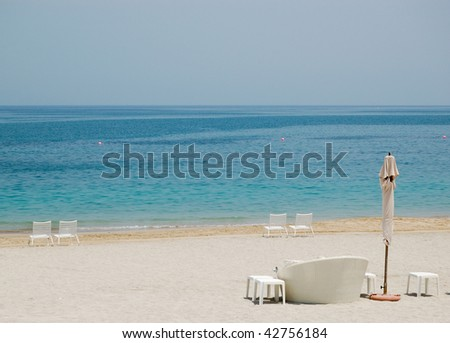 Beach of luxury hotel, Fujeirah, United Arab Emirates - stock photo