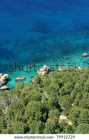Beach of Mediterranean Sea in Majorca island, Spain