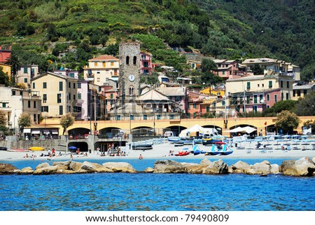 Beach of Monterosso al Mare, Cinque Terre, Italy - stock photo