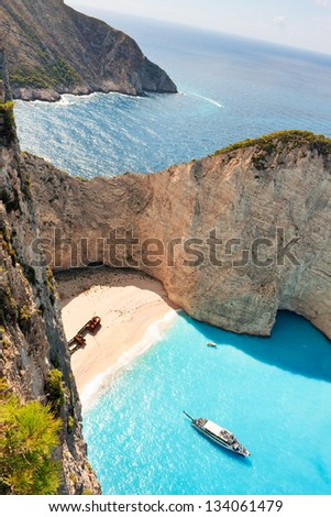 Beach of Navagio or Shipwreck or even Zakynthos smugglers cove is the most famous of Zakynthos beaches. - stock photo
