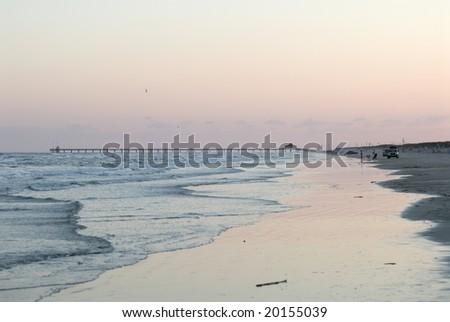 Beach of Padre Island, southern Texas USA - stock photo