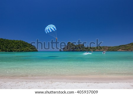 Beach of Phi Phi Island in Andaman Sea with Blue Sky at Krabi , Thailand - stock photo