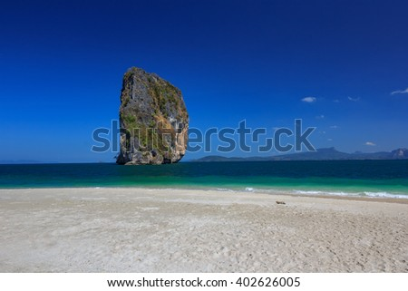 Beach of Poda Island in Andaman Sea with Blue Sky at Krabi, Thailand - stock photo
