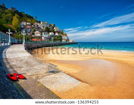 Beach of San Sebastian in summer in Spain. - stock photo