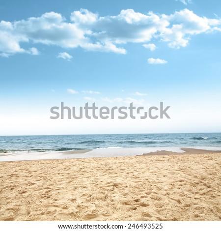 beach of sand and sea  - stock photo