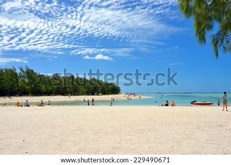 Beach of small tropical island of Cerf, Mauritius island - stock photo