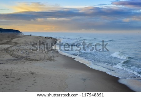 Beach of the Baltic Sea at the Curonian Spit, Lithuania, Europe - stock photo