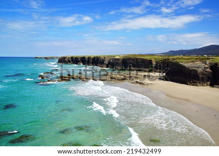 Beach of the Cathedrals in Ribadeo, Galicia, Spain - stock photo
