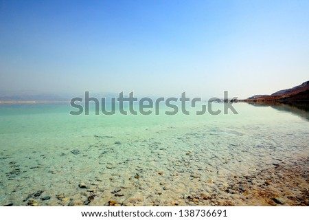 Beach of the Dead Sea. Israel - stock photo