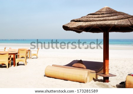 Beach of the luxury hotel, Ajman, UAE - stock photo