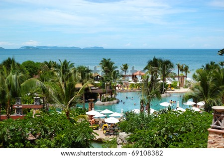 Beach of the modern luxury hotel, Pattaya, Thailand - stock photo