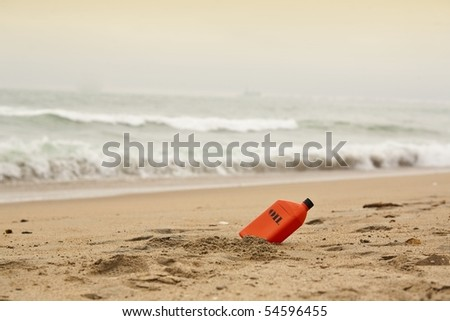 Beach oil - stock photo