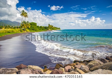 Beach on a St. Kitts island with black sand