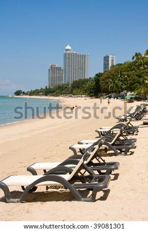 Beach on a sunny day.Pattaya city in Thailand . - stock photo