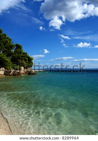 Beach on Adriatic sea, Brela, Croatia - stock photo