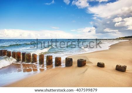 Beach on Baltic Sea shore - stock photo