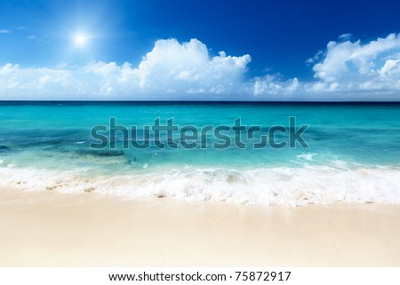 beach on Catalina island Dominican republic - stock photo