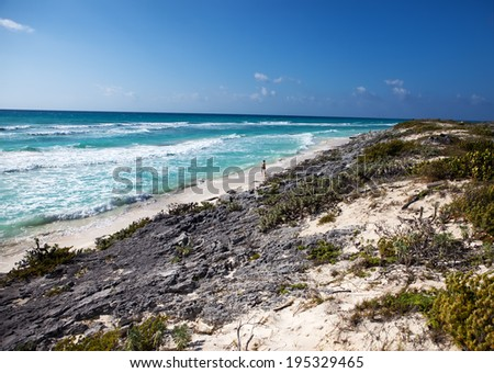 beach on Cayo Largo's island, Cuba - stock photo