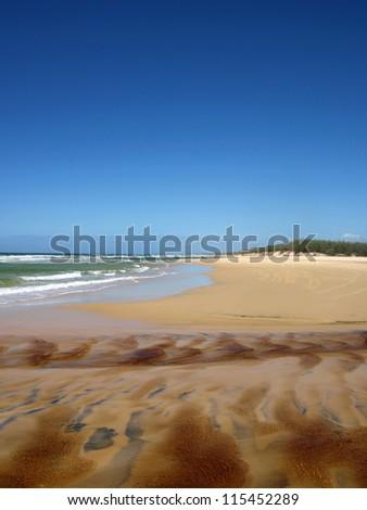 Beach on Fraser Island, Australia - stock photo