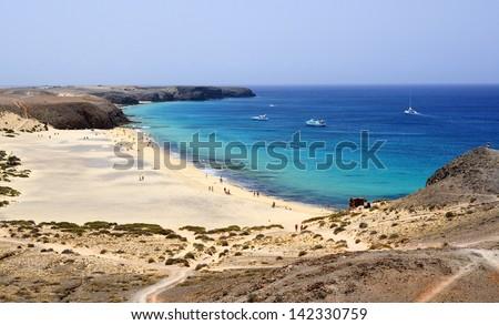 Beach on Lanzarote. - stock photo