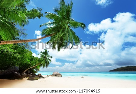 beach on Mahe island in Seychelles - stock photo