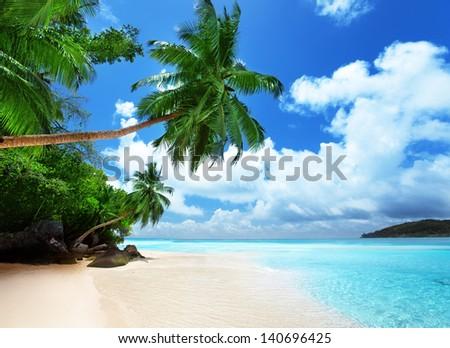 beach on Mahe island in Seychelles - stock photo