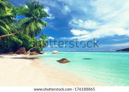 beach on Mahe island, Seychelles  - stock photo