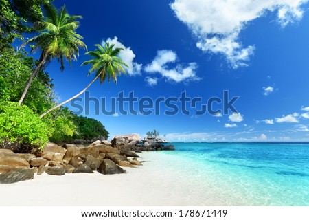 beach on Mahe island, Seychelles - stock photo