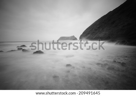 beach on misty during the storm  - stock photo