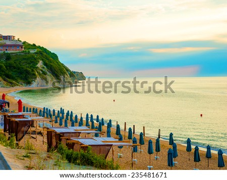 beach on seaside of the resort city in Bulgaria early in the morning