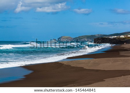 Beach on St. Miguel Azores - stock photo