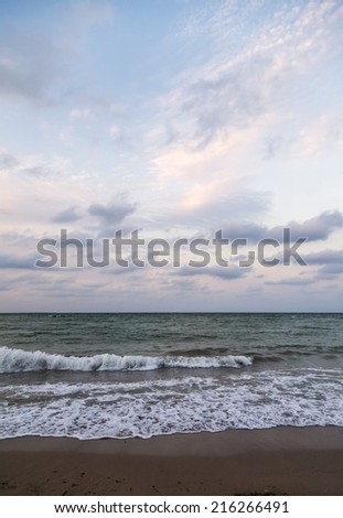Beach on the Black Sea coast at sunset - stock photo