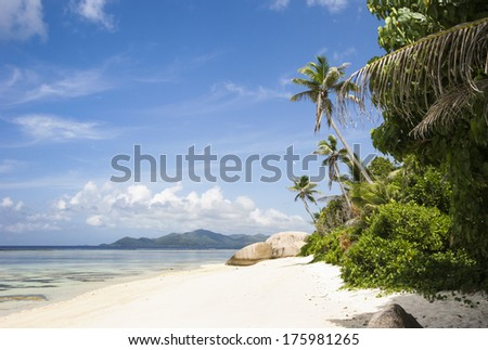 Beach on the island of La Digue, Seychelles, Indian Ocean - stock photo