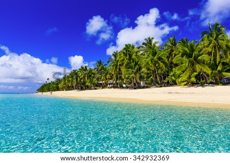 Beach on the tropical island & clear blue water. Dravuni Island, Fiji. - stock photo