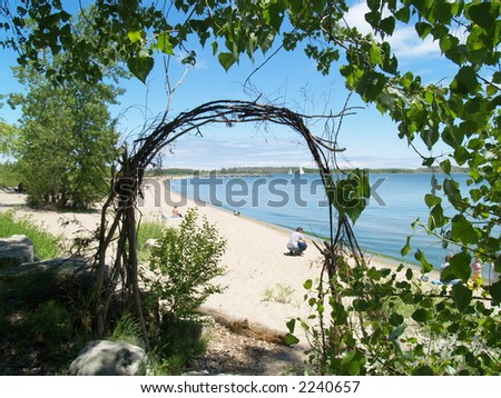 beach on Toronto Island, Lake Ontario - stock photo