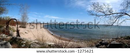 Beach on Toronto Island (180 panorama) - stock photo