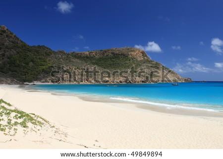 Beach on tropical paradise Saint Barths - stock photo