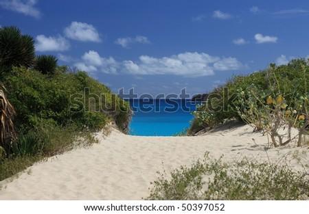 Beach on tropical paradise Saint Barts - stock photo