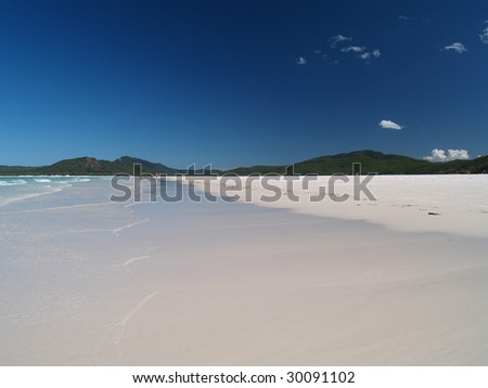 Beach on Whitsunday island with white sand, Great Barrier Reef, Australia - stock photo