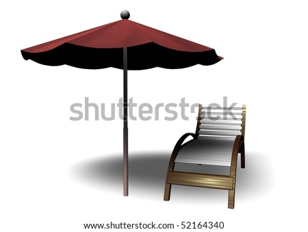Beach parasol and deckchair with shadow, can be used for web or print