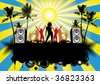 Beach Party Music Flyer or Poster - stock vector