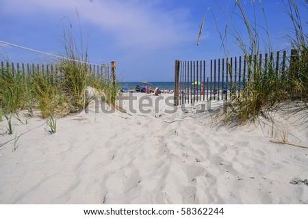 Beach path to ocean - stock photo