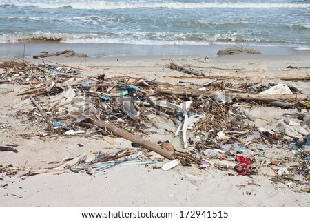 Beach pollution. Every day, Garbage on the beach  - stock photo