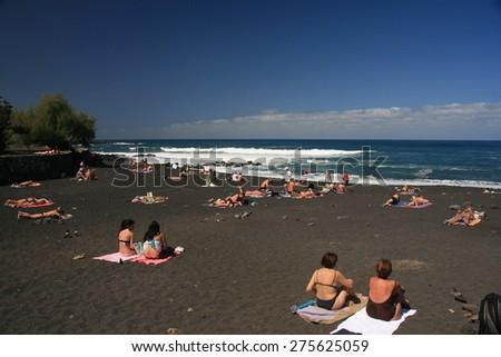 beach puerto de la Cruz -  tenerife - stock photo