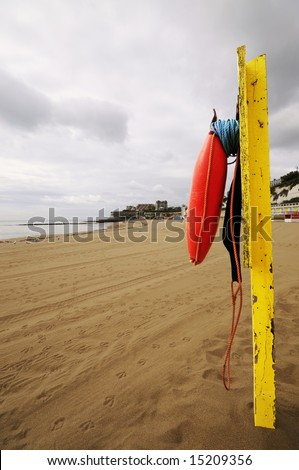 Beach rescue point at Broadstairs beach Kent England - stock photo