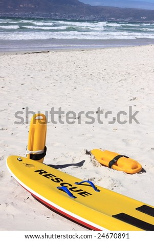 beach rescure equipment on the ready - stock photo